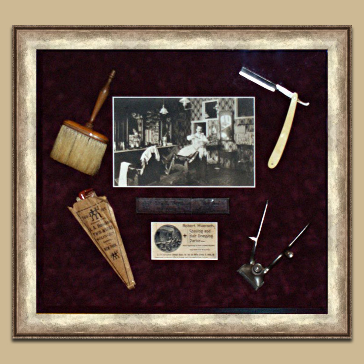 Shadowbox-Antique-Barbershop-Tools-equpment-business-card-Murano-Frame